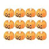 12 Stücke Laterne Outdoor Kerze Elektrische Kürbiskerze Licht Atmosphäre Verzierung Leuchte Lampe Flammenlose Pumpkin Lantern Ghost Light Beleuchtungslampe Halloween Deko