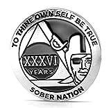 MyRecoveryStore 36 Jahre Silber-Schwarz Piraten-Alkoholiker Anonymer AA Chip mit Münzkapsel AA Jahresmedaillon 1-50 Jahre