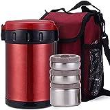 Thermobehälter Warmhaltebox Thermo-Speisegefäß Edelstahl Doppelwandig Isolier-Suppenbehälter 12 Stunden Heiß 24 Stunden Kühl BPA-Frei ,