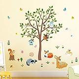 decalmile Wandtattoo Waldtiere Baum Wandaufkleber Hirsch Eichhörnchen Eule Wandsticker Kinderzimmer Babyzimmer Schlafzimmer Wanddeko (H:80cm)