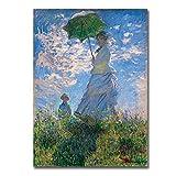 Claude Monet Poster Frau Mit Sonnenschirm Leinwand Bild Wand Bilder Bilder Gemäldewerk Wohnzimmer Home Wanddekoration Bilder 40x60cm Kein Rahmen