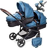 babyGO Kinderwagen 3 in 1 für Zwillinge - Geschwisterkinderwagen/Geschwisterwagen für Babys - Zwillingskinderwagen/Zwillingswagen für 2 Kinder mit viel Zubehör (Blau Melange-ohne Babyschale)