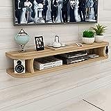 WSNBB Wandmontierter TV-Schrank, Wandmontierte TV-Medienkonsole, Moderner Minimalistischer Wohnzimmer-Wandschrank, Schlafzimmer-Set-Top-Box-Rack (Color : Yellow, Size : 120 * 22 * 15cm)