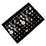 Kurtzy Schmucklade Ringkasten - 34x23cm Elegant Black Velvet Lined Schmuck Aufbewahrung und Präsentation mit 7 Ringrollen für Ringe, Manschettenknöpfe und Ohrringe Organizer