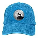 Denim Cap Heulender Wolf Mond Baseball Dad Caps Classic Adjustable Casual Sports for Men Women HatsBlack - Blau - Einheitsgröße