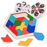 Coogam Holz Kinder Puzzle - Sechseck Form Muster Block Tangram Logik IQ Spiel STEM Montessori Brain Teaser Spielzeug Geschenk für Jugendliche