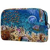 Reise-Make-up-Tasche Große Kosmetiktasche,Unterwasser-Meeresschildkröten-Korallenfische ,Make-up-Tasche Organizer für Frauen und Mädchen