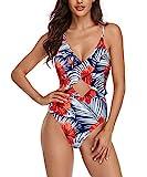 Badebekleidung Sexy Bademode Damen Neckholder V-Ausschnitt Hohe Taille Florale Badeanzug Rückenfrei Einteiliger Bademode Floral XL