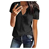 XUNN Damen Tops Mode Sexy Sommermode Strick Kurzarm Tunika Top V-Ausschnitt Loose Shirt Bluse T-Shirt Frauen Oberteil