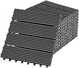 UISEBRT 22 Stück Terrassenfliesen WPC 30x30cm Balkonfliesen Holz-Optik Kunststoff Fliesen Zusammenbaubar Garten ca. 2m² Anthrazit