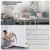 Arthome 10 Stück 3D Tapete Wandpaneele Selbstklebend Ziegel, Steinoptik Tapete Wasserdicht Wandaufkleber, Wandtapete Schaumstoff für Wanddekoration (Bereich 5,32㎡)