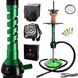 Kaya ELOX Eco Wrap Shisha Komplett Set 62cm - Alu Wasserpfeife, 1 Anschluss inklusive Elektrischem Kohleanzünder, 1kg Kohle und Zubehör (Grün)