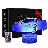 Sportwagen Nachtlichter für Kinder, 3D Illusion Lampe mit 16 Farben Ändern und Fernbedienung, Wagen Spielzeuge Geburtstags Geschenke für Jungen