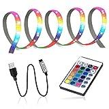 GLEHOME USB-betriebene LED-Lichtstreifen mit Fernbedienung (1 m, 30 LEDs), Farbwechsel, 5050 RGB, Niederspannung, Stimmungslicht für Monitor, TV, Badezimmer, Schreibtisch, Gaming, einfache Einrichtung