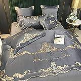 Bettbezug,Seide BettwäSche, Leichte Luxus EuropäIsche Stickerei Vier-Teiliges Set, Reines Baumwolle Einzelbett Einzelbett Einzelne Bettdecke Kissenbezug N_200 * 230 cm (79'* 91') 4 S