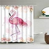 XCBN Tiere im afrikanischen Stil Elefant Flamingo Blume Rose Duschvorhänge Badezimmervorhang wasserdichte Duschvorhänge A13 180x180cm