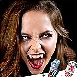 FXCONTACTS Großes Halloween Set, Zombie Kontaktlinsen + Vampirzähne + Kunstblut Kapseln, Horror Karneval Kostüm Damen Herren