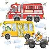 Wandtattoo Auto Kinderzimmer Deko Junge Fahrzeuge Wandbild Autos Jungenzimmer Babyzimmer Wandbild Jungs von greenluup - Feuerwehrauto Traktor Tiere (Motiv 2)