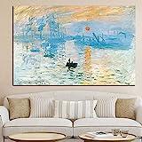 Claude Monet Impression Poster Sonnenaufgang Wand Bilder BerüHmte Landschaft Leinwand Bild Kunstdruck Bild Wohnzimmer Wohnkultur Bild 40x60 cm Kein Rahmen