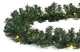 40 LED Girlande künstlich grün beleuchtet Tannengirlande 270 cm Weihnachten auß