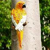 SSLLH Gartendeko Papagei Skulptur,Papagei Figuren,Realistische Papagei aus Harz Ornament,Gartenfigur Deko Zaunfigur Wanddeko, Dekorative Gartenstatuen Gartenfigur Für Garten Baum Terrasse Zaun Gelb