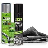 detailmate Dr. Wack Reifen & Felgen Pflegeset: Dr. Wack P21S Reifen Glanz 400ml + P21S Felgen Wachs 400ml + P21S Metall-/Alu-Polish 100ml Edgeless Greylow Mikrofasertuch 40x40cm, 380GSM