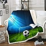 Fußball-Decke für Jungen, Sportthema, Sherpa-Überwurf, Fußball-Muster, Fleecedecke für Sofa, Couch, Wettkampfspiele, warmer Plüsch, 203 x 152 cm