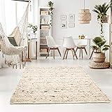 Taracarpet Handweb-Teppich Oslo Wolle im Skandinavischem Landhaus Design Wohnzimmer Esszimmer Schlafzimmer Flur Läufer beidseitig verwendbar 120x170 cm Sand M