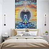 sieben Chakren Yoga auf Schlange- Wandteppich, böhmischer indischer Trippy Hippie Tapisserie, psychedelischer Meditationwandbehang, Wanddekor für Wohnkultur.59x40Zoll