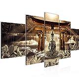 Bilder Feng Shui Buddha 5 Teilig Bild auf Vlies Leinwand Deko Wohnzimmer Wellness Zen Braun 036452b