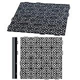Prosperplast Mosaic Bodenmatte Set Bodenfliese Unterlage für Schwimmbad Sauna Bodenmodul Kunststoff Schwarz (8X Bodenmatten + 18x Befestigungsstreifen)