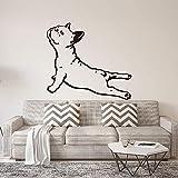 Französische Bulldogge Yoga Hund Wandaufkleber Schlafzimmer Kindergarten Paare Welpen Haustier Hund Tier Wandtattoo Wohnzimmer Vinyl Wohnkultur 56 Cm X 50 C