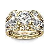 Jeulia Austauschbares Ring-Set aus zweifarbigem rund geschnittenem für Frauen Ehering CZ Solitaire Verlobungsringe Jubiläumsversprechen Schmuckbox (Silber, 58 (18.5)) (Silber&Golden, 60 (19.1))