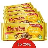Marabou apelsin krokant Schokolade 5 x 250 g – zartschmelzende Milchschokolade mit knuspriger Orange – einzigartig leckere schwedische Süßigkeit – Orang