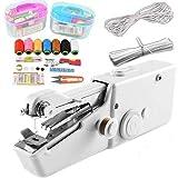 N\C XIKUO Handnähmaschine, Akku-Handnähmaschine mit Gewindesatz Mini Portable Size, Handlicher Schnellstich für den Heim- oder Reisegebrauch Weiß