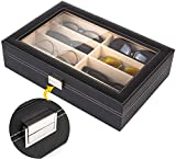 MVpower Brillenbox für 8 Brillen Brillendisplay mit Schaufenster Brillenorganizer Brillenaufbewahrung Sonnenbriellen 35*25.5*11.5cm Kunstleder, schwarz
