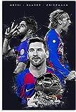 HuGuan GemäLde Auf Leinwand Trio Messi Suarez Griezmann und Bild für Veranda Dekor Wandkunst Malerei Poster Druckt Bilder 11.8'x19.7'(30x50cm) Kein Rahmen