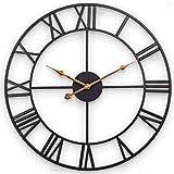 Große Metall Wanduhr, 60 cm Europäische Vintage-Wanduhr mit Römischen Ziffern, Leise, Nicht Tickende, Batteriebetriebene, Dekor Wanduhr, für Loft, Schlafzimmer, Wohnzimmer, Küche (Metall, Schwarz)