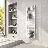 Meykoers Badheizkörper 1200x400mm Mittelanschluss 597 Watt Weiß, Handtuchtrockner Handtuchwärmer Design Heizkörper für Bad Heizung R