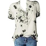 iHENGH Mode Damen Drucktasche Plus Size Kurzarm Bluse Easy Top Shirt(Weiß, S)
