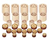 Ankky Holzknöpfe Handmade Knöpfe 150 Stück Natur Holz Knopf +45 Stück Kokosknöpfe 2 Löcher zum Nähen Basteln Deko DIY(13/15/20/25mm)
