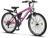 Licorne Bike Guide Premium Mountainbike in 26 Zoll - Fahrrad für Mädchen, Jungen, Herren und Damen - 21 Gang-Schaltung - Rosa/Weiß