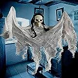 Mengove Sensenmann Hängedekoration Horror Halloween Mottoparty Deko-Figur Ghost Braut Dekorationen,Monster Schädel Henker Höllen Deko Halloween Grusel Party Spaß Lebensgroß Und Wie Echt