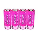 MNJKH 3.7V 6800mAh 26650 Lithium Li Ionen Akkus, wiederaufladbarer Akku Für Digitalkameras 4pieces