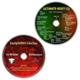 Ultimate Boot-CD / Ersthilfe & Notfall-CD + Festplatten Löscher für Windows Betriebssysteme 10-8-7-Vista-XP (32 & 64 Bit) (2 CDs Spar-Set)