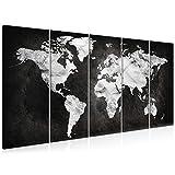 decomonkey Bilder Weltkarte Landkarte 200x80 cm 5 Teilig Leinwandbilder Bild auf Leinwand Wandbild Kunstdruck Wanddeko Wand Wohnzimmer Wanddekoration Deko Karte Kontinent schwarz