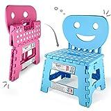 Helperfect® 2in1 Klappbarer Kinderstuhl & Tritthocker mit Rückenlehne - Stabiler Tritt, Sicherer Sitz, Kinderleichte Handhabung - Perfekt auch für Küche oder Bad (Blau)
