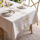 Blaues und weißes Porzellan bestickte Quaste Polyester Leinen Tischdecke Rechteckige Teetischdecke Couchtisch Tischdecke 140x220cm Gold