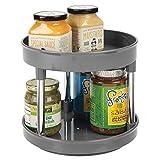 mDesign Lazy Susan Küchenregal zweistöckig – praktisches Gewürzregal für Küchenschrank oder Arbeitsplatte – drehbarer Gewürzhalter aus Kunststoff – grau