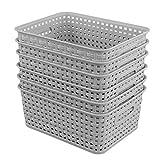 Zerdyne Aufbewahrungskorb aus Kunststoff, vielseitig verwendbar, für den Schreibtisch, 6 Stück, Grau